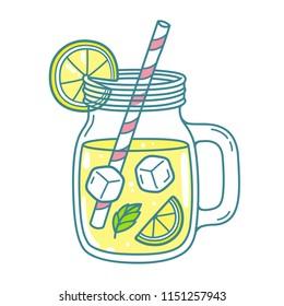 Lemonade in mason jar mug with drinking straw and lemon wedge. Refreshing summer drink vector clip art illustration, doodle style drawing.