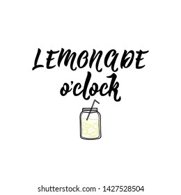Lemonade oclock. Lettering. Ink illustration. Modern brush calligraphy. Isolated on white background, element for natural products, card, print, packaging, badges quote poster