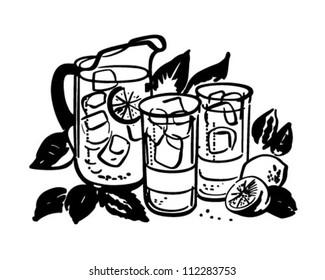 Lemonade Pitcher And Glasses - Retro Clipart Illustration