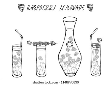 Lemonade with Raspberry in Decanter and Tall Glass, Ice, Straw, Berries on a Skewer. Summer Bar Coctail Collection. Realistic Hand Drawn High Quality Vector Illustration. Doodle Style.