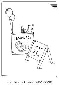 Lemonade sale. Black ink on white background. Vector illustration.