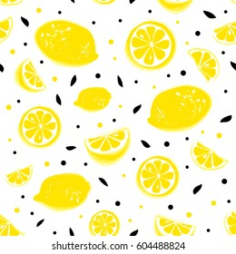 Lemonade seamless pattern with yellow lemons and black leaves on white background. Whole and parts, slice.