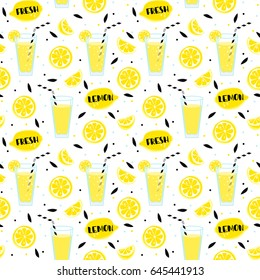 Lemonade seamless pattern with yellow lemons and glass with drinking straw,  sipper, bendie and black text and dots on white  background. Fresh.  Whole and parts, slice, leaves.