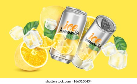 Lemonade soft drink with packaging mock up in the middle on solid color background. Realistic vector in 3D illustration.