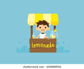 lemonade stand with a  budding business boy. Funny children illustration 100% vector layered