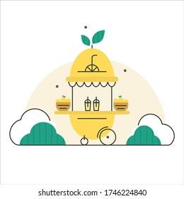 Lemonade stand. Flat linear vector illustration.