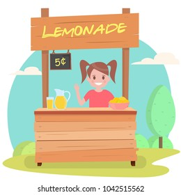 Lemonade stand with fresh lemons