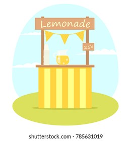 Lemonade stand. Vector image isolated on white background