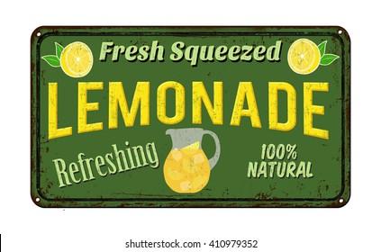 Lemonade vintage rusty metal sign on a white background, vector illustration