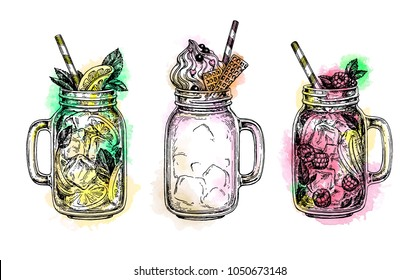 Lemonades and milkshake in mason jars. Beverage collection. Retro style ink sketch with watercolor spots isolated on white background. Hand drawn vector illustration.