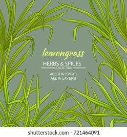 lemongrass plant vector frame on color background