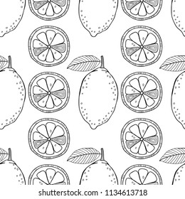 Lemons. Black and white illustration for coloring book. Fruits, healthy dessert and food.