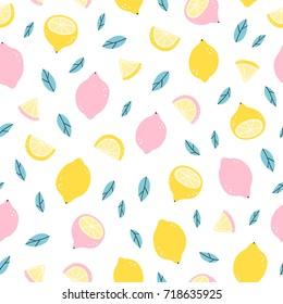 Lemons doodle seamless pattern