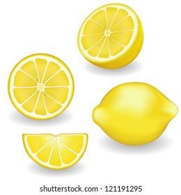 Lemons, four views. Fresh, natural lemons: whole, half, slice, wedge. Graphic illustrations isolated on white background. EPS8 compatible.