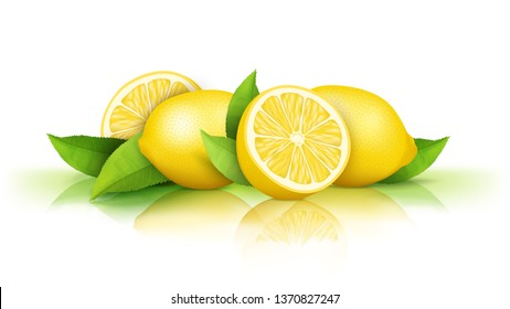 Lemons isolated on white background. Fresh juicy yellow fruits cut in half and whole and green leaves, natural vegan food, ingredient for drinks, organic cosmetics. Design element for packaging.