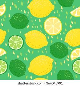 Lemons and Limes Seamless Pattern