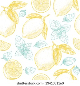 Lemons  and mint. Vector seamless pattern