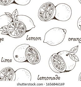 Lemons and oranges fruit vector seamless pattern, hand drawn citruses isolated on white background with text