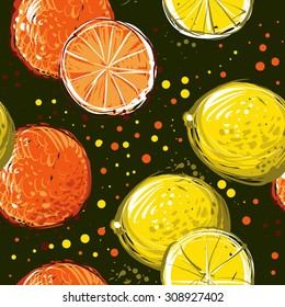 Lemons and oranges are hand-drawn. Vector seamless pattern EPS10