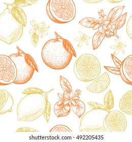 Lemons and oranges. Vector seamless pattern