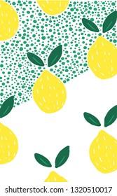 Lemons pattern design vector illustration, yellow