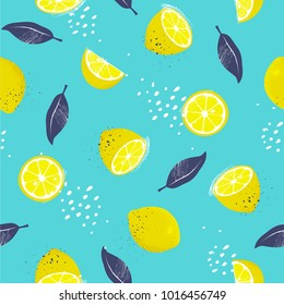 Lemons, seamless pattern. Slices and whole fruits with a leafs. Vector illustration.