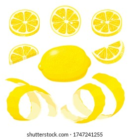 lemons. Set of whole, cut in half, sliced on pieces fresh lemons and lemon peel. Collection fresh juicy ripe citrus fruit. Hand drawn vector illustration isolated on white background