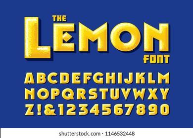 A lemon-themed textural vector alphabet