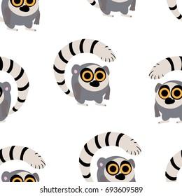 Lemur in cartoon style. Seamless pattern.