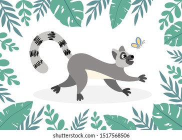 Lemur with frame of tropical palm leaves. Animal cartoon style for kids, children's books and games, print, decor, background, design.