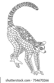 Lemur. Hand drawn picture. Sketch for anti-stress adult coloring book in zen-tangle style. Vector illustration  for coloring page, isolated on white background. Template for poster, t-shirt or tattoo.