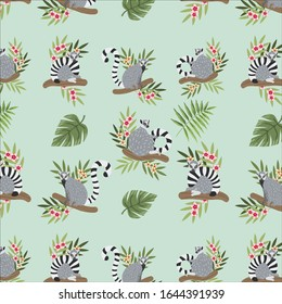 Lemur hand drawn vector pattern. Realistic cute lemurs in different poses sitting on branches with tropical jungle flowers. Endangered animals pattern. Animalistic floral collection