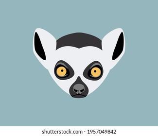 Lemur head. Wild animal muzzle. Vector flat symbol