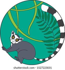 Lemur in jungle vector illustration. Creative lemur logo icon design. Lemur in jungle color isolated on white background.