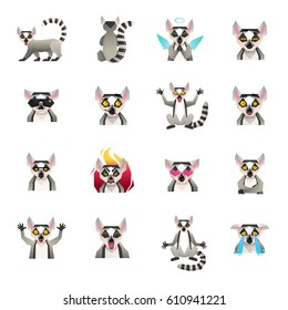 Lemur polygonal big set of sixteen isolated macaco funny cartoon character icons in flat doodle style vector illustration