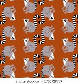 Lemur. Vector illustration of an animal. Flat style. Seamless pattern.