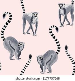 Lemur wild animal seamless pattern. Exotic wallpaper.