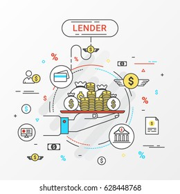Lender Info graphics design concept. Loan lending of money from bank, personal loans, credit card, organization or entity. Vector illustration. Flat line icons style.