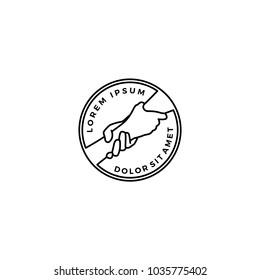 lending hand care help round emblem badges logo vector outline line download