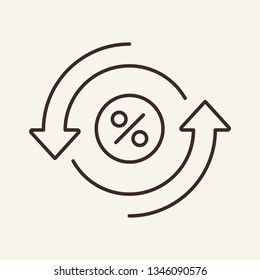 Lending line icon. Percent sign and cyclic arrows. Banking concept. Vector illustration can be used for topics like banker, rebate, interest rate