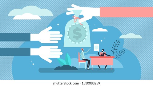 Lending money vector illustration. Flat tiny financial debt persons concept. Economical crisis help with credit and payroll in advance. Debt payment business and crisis situation management contract.