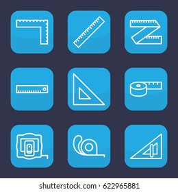 Length icon. set of 9 outline length icons such as ruler, triangle ruler, measure tape, tape, measuring tape