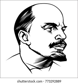 Lenin monument vector illustration -  symbol revolution in Russia. Proletarians of all countries, unite.