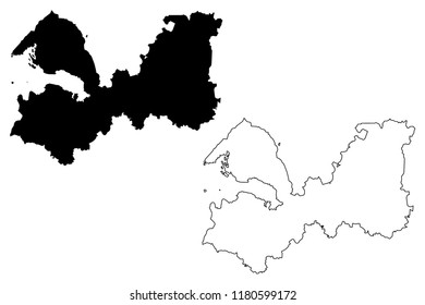 Leningrad Oblast (Russia, Subjects of the Russian Federation, Oblasts of Russia) map vector illustration, scribble sketch Leningrad Oblast map