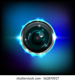 Lens camera with effects aura colors, vector illustration.