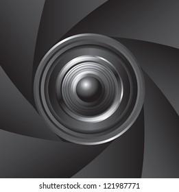 Lens of the camera over black background vector illustration