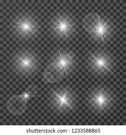 Lens effects. Camera flash light, flare. White light spot glowing sparkles, starlight isolated on transparent background vector set