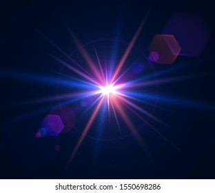 Lens flare of camera. Shining cinematic effect shooting against the sun. Sparkling light effects of flash with colorful twinkle. Beautiful glare effect with bokeh, glitter particles and rays