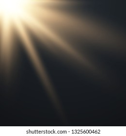 Lens flare light effect. Sun rays with beams . Vector illustration EPS10
