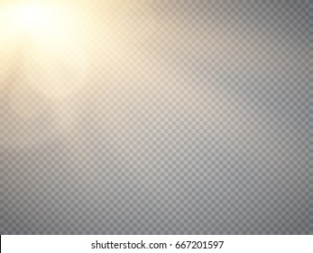 Lens flare light effect. Sun rays with beams isolated on transparent background. Vector illustration. Yellow spotlight